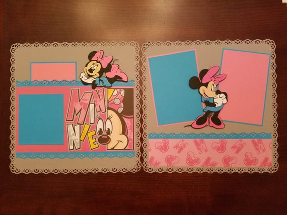 Disney Minnie Mouse Scrapbook Layout 2 Page 12x12 Etsy