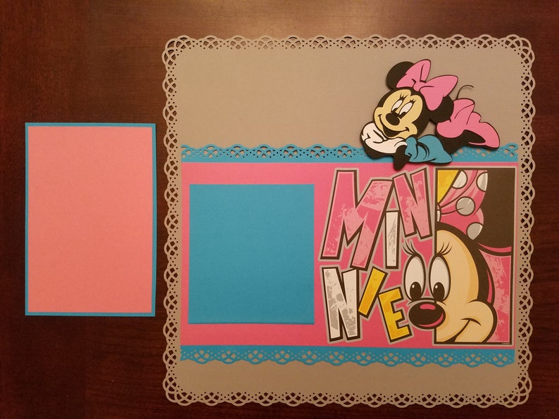 Disney Minnie Mouse Scrapbook Layout 2 Page 12x12 Premade Layout Shadow Box Art Framed Art Gift Home Decor
