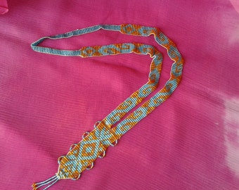 """""""Art Deco"""" glass bead woven necklace"""