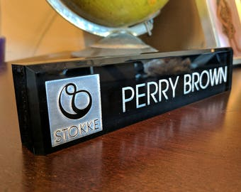 Acrylic Desk Name Plate - Gift For Her - Teacher Gift - Home & Work Decor - Personalized Name Tag - Corporate Gift  Unique Desk Plate