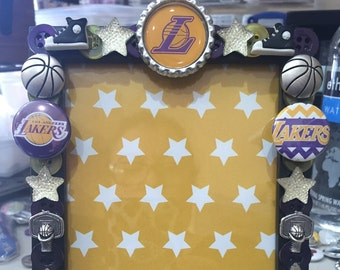 Los Angeles Lakers Button picture frame, holds 4 x 6 photo