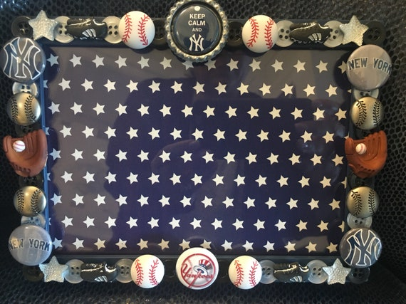 New York Yankee Button Picture Frame Etsy