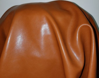 Cognac Tan Faux Vegan {Peta Approved} leather Pleather sold by the yard 36 inches x 52 inches wide Synthetic 1 - 5 yards NAT Leathers™