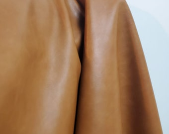 Cognac British Tan 2 tone calf Faux Vegan {Peta Approved} leather Pleather sold by the yard 36 inches wide Synthetic 1 yard- 5 yards