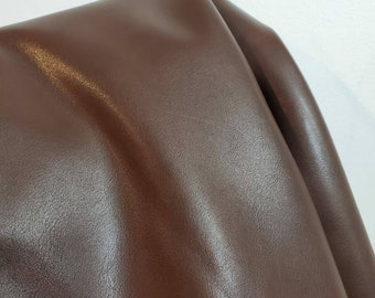 """Brown smooth Davos {Peta-Approved}Vegan faux leather handbag upholstery craft 0.9mm PU Fabric 36""""x54"""" 1-5 cut by the yard NAT Leathers™"""