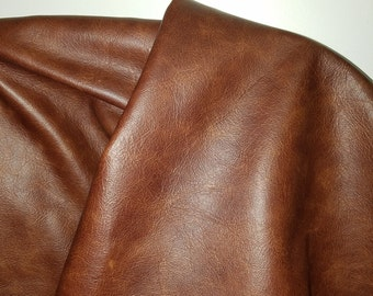 """Leather Cognac Tan Cuoio Upholstery """"Old English"""" natural cowhide leather skin cowhide hide 18-22 sf soft 2.5 oz nappa tumblegrain 2 tone"""