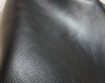 "Black pebble grain {Peta-Approved} Vegan leather handbag upholstery craft PU 0.9 mm fabric by the yard (36""x54 inch) 1-5 yards NAT Leathers™"