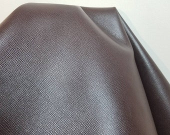 Leather 10-21 sf Brown Saffiano  nappa Cow hide cowhide skin 2.5 - 3.0 oz nappa genuine for handbag craft jewelry accessories NAT Leathers