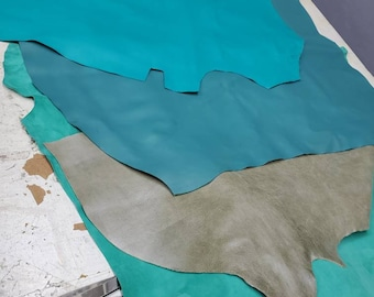 NAT Leathers 5 pieces over 20 sf Green sheep Soft Turquoise Nappa 2.5 oz 1.0-1.2 mm skins for handbag craft jewelry upholstery footwear