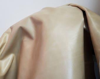full skin about 18-20 sq.ft Italian Bone Vanilla Flake veg tan Cow hide two tone Genuine upholstery craft cowhide 2.5 oz NAT Leathers