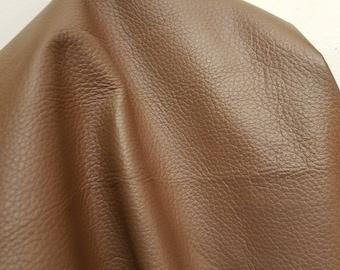 Chocolate Brown Taupe Tumblegrain soft Fullgrain 17 to 22 sq.ft. Nappa Cowhide upholstery craft handbag hide 2.0-2.5 oz NAT Leathers