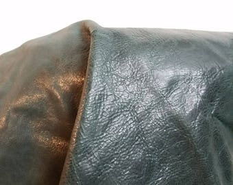 Leather 5 sq.ft full skin green Smooth Nappa Cowhide soft craft supply handbag upholstery Nat Leathers