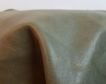 Leather 3 sq.ft full skin Green Smooth Nappa 1.4-1.6 mm thick Cowhide soft craft supply handbag upholstery Nat Leathers Foggy Bottom