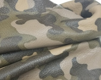 21-24 sq.ft Taupe Gray Green Camo camouflage Fullgrain soft tumbled 2.5-3.0 oz Cow leather skin cowhide handbag chap upholstery NAT Leathers