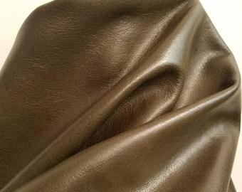 Leather 18-24 sq.ft full skin soft Dark brown Khaki 2.0- 2.5 oz semi aniline glazed Soft Cow hide craft handbag upholstery Nat Leathers