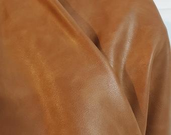 "Light Tan 2 tone {Peta-Approved}Vegan soft faux leather handbag upholstery craft 0.9 mm PU Fabric 36""x54"" 1-5 cut by the yard NAT Leathers™"