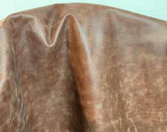 NAT Leathers 17-18 sf Rustic Brown Embossed 2.5 oz 1.0-1.2 mm cowhide for handbag craft jewelry upholstery footwear