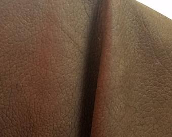 "Leather full skin Brown nubuck elephant emboss ""Safari"" 14-21 sq.ft. Cowhide soft craft supply handbag upholstery Nat Leathers"
