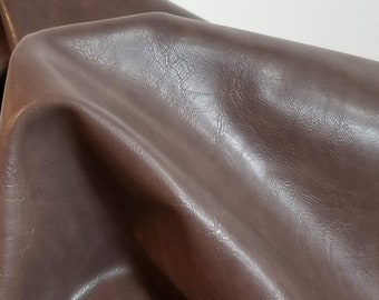 """Brown Tan 2 tone Faux Vegan {Peta Approved} leather handbag upholstery craft PU Fabric by the yard 36 inches x 52 """" Synthetic NAT Leathers™"""