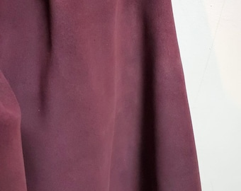 Plum Purple Oiled Cow suede NAT Leathers 11-14 sq.ft soft wet smooth nappa Cow hide cowhide leather skin 2.5 -3.0 oz 1.2 mm