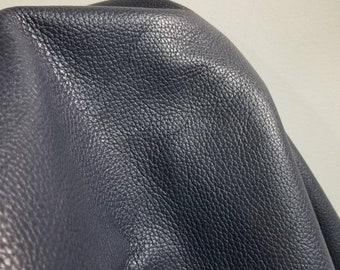"Small skin.. About 22 inch x 38"" cutting navy blue tumblegrain nappa 2.5 oz  Nappa Cowhide soft craft supply handbag upholstery Nat Leathers"