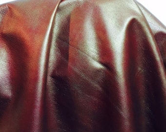 Ruby Red 20 sq.ft. Pearlized Shimmer Saffiano emboss Soft Nappa 2.5 oz Leather skin Cow hide Italian upholstery craft cowhide NAT