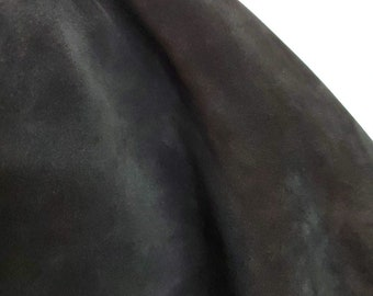 Black Oiled Cow suede NAT Leathers 11-14 sq.ft soft wet smooth nappa Cow hide cowhide leather skin 2.5 -3.0 oz 1.2 mm