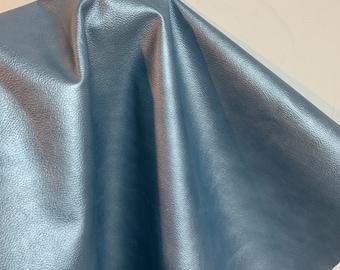 NAT Leathers 16-20 sf Blue Embossed cow hide cowhide skin 2.5 oz 1.2 mm nappa genuine for handbag craft jewelry upholstery footwear