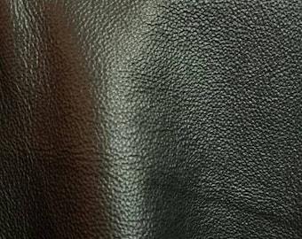 "Leather 13 to 22 sq.ft full skin Black pebblegrain fullgrain tumbled ""heritage""Cowhide Cow soft craft supply handbag upholstery Nat Leathers"