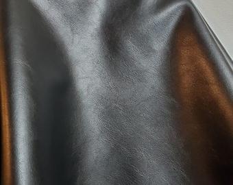 "Black ""Arya"" {Peta-Approved} soft Vegan faux leather handbag upholstery craft 0.9 mm PU Fabric 36""x54"" 1-5 cut by the yard NAT Leathers™"