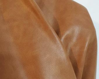 "British Tan Golden Tan {Peta-Approved} Vegan faux leather handbag upholstery craft 0.9mm PU Fabric 36""x54"" 1-5 cut by the yard NAT Leathers™"