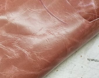 Dusty Pink high low Clash Leather skin Cow hide 16 sq.ft. 2 tone Italian handbag shoe footwear upholstery craft cowhide 2.5 oz NAT Leathers