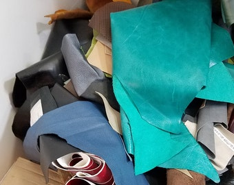usd5.99 1 lbs scrap remnants pieces leather Cowhide 2.0-2.5-3.0 oz craft handbag patchwork shipped in USPS envelope
