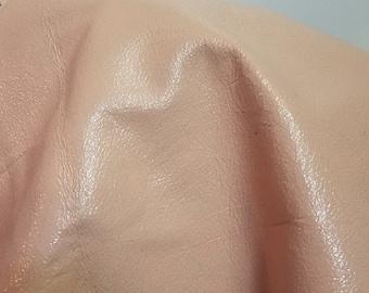 Leather Pale Pink 17 sq.ft. shiny Crackle Fullgrain nappa smooth 2.0-2.5 oz 1.2 mm handbag craft leather skin cowhide tassle