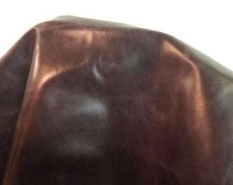 "Italian Tan Dark brown veg tan Cow hide 12"" 24"" various sizes cutting two tone Genuine upholstery craft cowhide 2.5- 3.0 oz NAT Leathers"