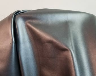 Leather 16-25 sq.ft. (5 skins available Black Smooth Image Cowhide soft craft supply handbag upholstery Nat Leathers smooth gray pearlized