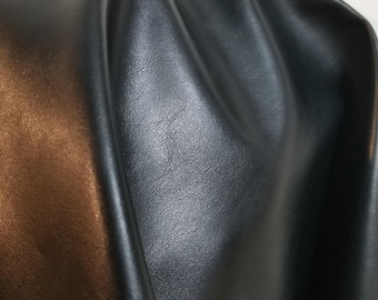 """Black smooth Faux nappa 0.9mm {Peta-Approved}Vegan faux leather handbag upholstery craft PU Fabric 36""""x54"""" 1-5 cut by the yard NAT Leathers™"""