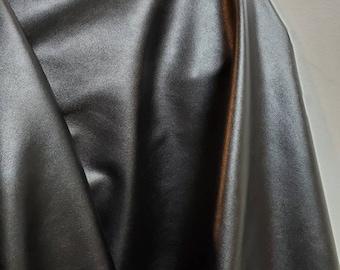"Black lightweight thin Garment 0.7 mm {Peta-Approved Vegan} leather handbag craft PU Fabric by the yard 36 ""x 54"" Synthetic NAT Leathers™"