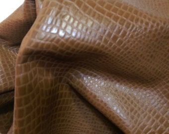 18-23 sq.ft. Special lot leather skin Cow hide tan brown crocodile gator 2.5-3.0 oz handbag upholstery craft cowhide seating NAT Leathers