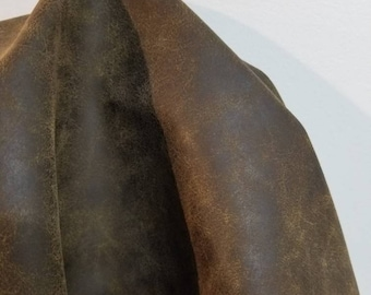 """Brown distressed crazy horse {Peta-Approved} Vegan faux leather handbag upholstery craft PU Fabric 36""""x54"""" 1-5 cut by the yard NAT Leathers™"""