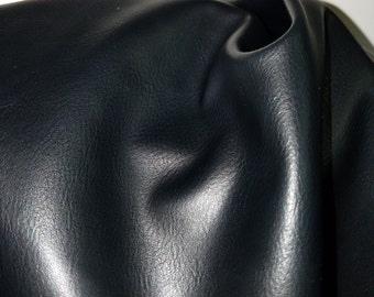 Black Faux leather Smooth Pleather sold by the yard 36 inches x 54 inches wide Synthetic for one yard.  1 -5 yards