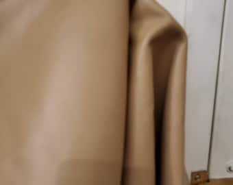 Leather 13 sq.ft full skin beige taupe smooth 2.5 oz Cow hide craft supply handbag Upholstery Nat Leathers