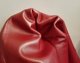 Leather 12,  20, 24,  30 inch cutting piece of Red pearlized smooth hide cowhide skin 2.5 oz 1.2 mm nappa genuine  cow NAT Leathers