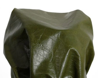 Leather full skin 16 sq. ft hunter green Monaco glazed smooth soft 2.0 oz 0.8 mm thin Cowhide skin topgrain by NAT Leathers