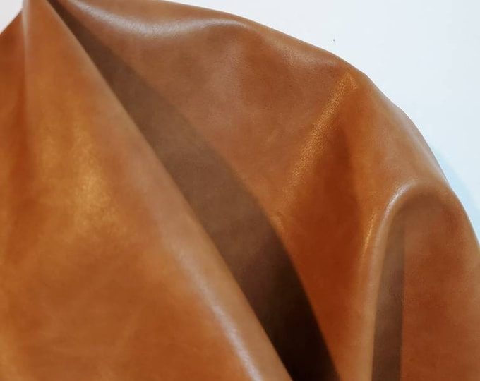 """Featured listing image: British Tan 2 tone {Peta-Approved} Vegan faux leather handbag upholstery craft 0.9 mm PU Fabric 36""""x54"""" 1-5 cut by the yard NAT Leathers™"""