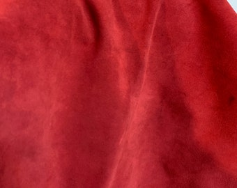 NAT Leathers One of a Kind 5 sf Coral Red Suede 2.5 oz 1.0-1.2 mm skin for handbag craft jewelry upholstery footwear