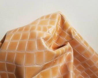 Peach patent crocodile croco cow leather 22 sf topgrain cowhide 2.5 oz shiny skin big hide NAT Leathers