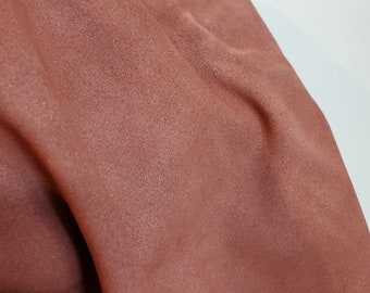 Coral Oiled Cow suede NAT Leathers 11-14 sq.ft soft wet smooth nappa Cow hide cowhide leather skin 2.5 -3.0 oz 1.2 mm