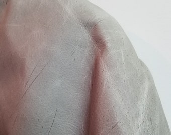"Leather Piece 12"" x 12"" Grey Oil pullup 2.5 oz 1.0 mm Cow hide skin topgrain NAT Leathers craft handbag footwear cowhide"