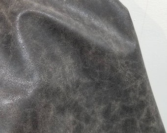 Gray distressed crazy horse Faux Vegan leather upholstery craft PU Fabric sold by the yard 36 x 54 inches  Synthetic 1-5 yards NAT Leathers